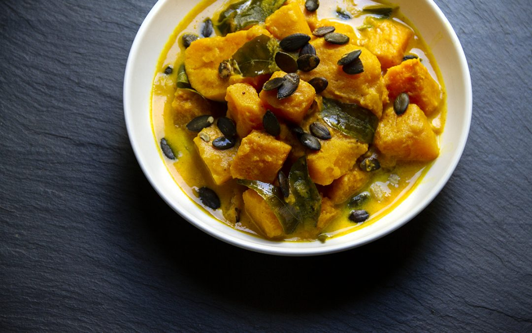 Pumpkin-Coconut Soup with Fresh Curry Leaves